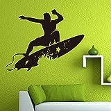 Pegatina de pared de deportes extremos para surf, amantes del surf, vacaciones, junto al mar, sala de estar, dormitorio, decoración, Mural A6 53x42cm