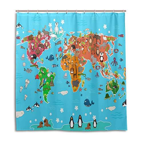 CPYang Duschvorhänge Weltkarte Tiere Wasserdicht Schimmelresistent Bad Vorhang Badezimmer Home Decor 168 x 182 cm mit 12 Haken