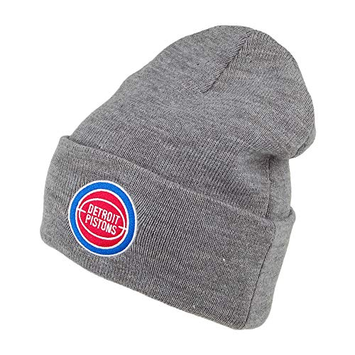Mitchell & Ness Detroit Pistons Beanie Mütze - NBA Team Logo Cuff Knit - Grau - One Size