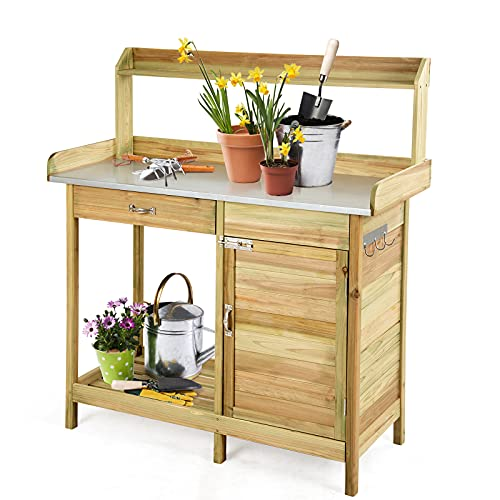 GYMAX Outdoor Potting Bench, Galvanized Metal Surface Wooden Garden Table with Drawer and Cabinet, Flower Plant DIY Workstation for Patios, Courtyards and Balcony
