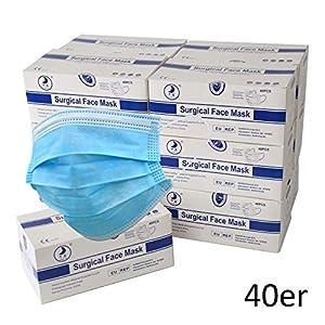 HD Fitness® LTMS040 maschera medica per la protezione della bocca e delle vie respiratore maschera monouso protezione antipolvere in pile 3 strati blu confezione da 40 pezzi