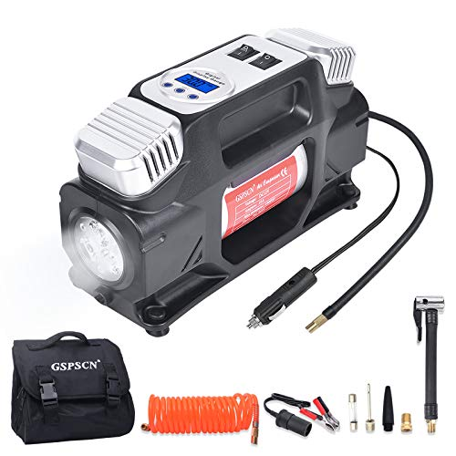 GSPSCN Portable Air Compressor Pump, Heavy Duty Dual Cylinders Tire Inflator 12V Auto Shut-Off with Digital Gauge, 150PSI with LED Light and Locking Air Chuck, Adapter for Auto,RV,SUV,Truck,Balls
