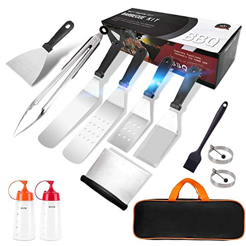 MARLBSIDE Flat Top Griddle Accessories Set,12 Pieces Grill Spatula Kit with Tongs, Egg Ring, Griddle Tools Cooking Kit for Blackstone,Camp Chef,Hibachi Outdoor BBQ and Teppanyaki Griddle Accessories