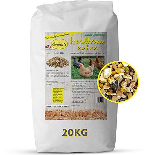 Emmas Hühnerfutter 20kg Hendltraum Extra Plus | Alleinfuttermittel für Legehennen | ohne Gentechnik | hergestellt in Österreich | ausgewogenes Futter mit Sonnenblumenkernen
