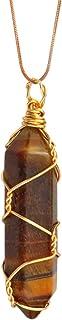 Healing Crystal Point Stone Pendant Necklace Reiki Balancing Chakra Dowsing Divination Gemstone Cone Pendulum Adjustable f...