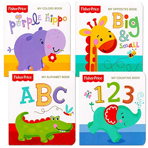 Fisher Price My First Books Set of 4 Baby Toddler Board Books (ABC Book, Colors Book, Numbers Book, Opposites Book)