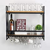MBQQ Rustic Wall Mounted Wine Racks with 6 Stem Glass Holder,23.6in Industrial Metal Hanging Wine Rack,2-Tiers Wood Shelf Floating Shelves,Home Room Living Room Kitchen Decor Display Rack
