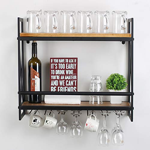 MBQQ Rustic Wall Mounted Wine Racks with 7 Stem Glass Holder,23.6in Industrial Metal Hanging Wine Rack,2-Tiers Wood Shelf Floating Shelves,Home Room Living Room Kitchen Decor Display Rack