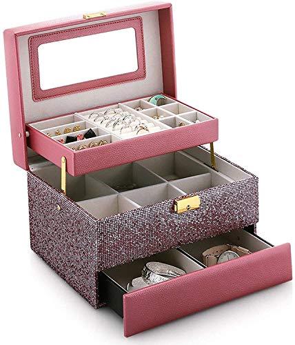Caja de joyería de Viaje, Estuche de Almacenamiento del Titular del Organizador de Cuero con Espejo para la Pulsera de Anillo Reloj Pendientes de Collar JUBC (Color : Pink)