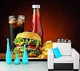 Kundenspezifische Nahrungsmittelgrad-Wandgemälde-Burger-Fischrogen-Wand-Malerei-Schnellimbiß für...