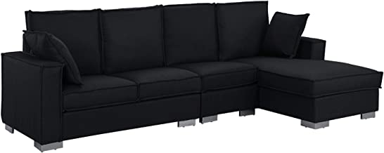 Modern Living Room Large Sectional Sofa, L-Shape Couch (Black)