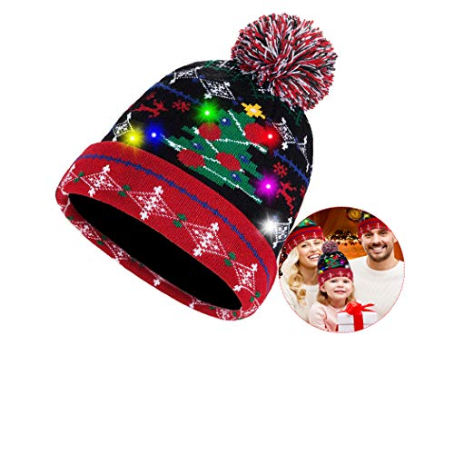 Led Christmas Beanie Hat Light Up Knitted Skull Cap Ugly Sweater Pom Pom Hat Unisex Warm 3 Modes Flashing for Christmas Winter Snow Holiday Xmas Party Red