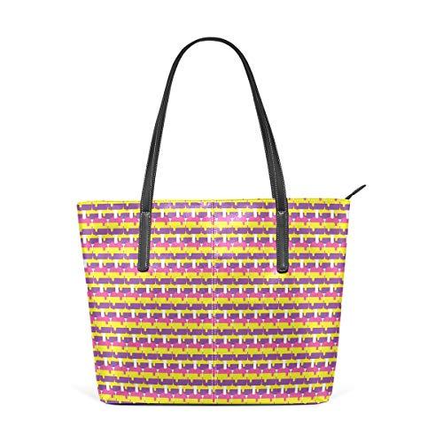 NR Multicolour Fashion Damen Handtaschen Schulterbeutel Umhängetaschen Damentaschen,Schmelzendes Eis Lollies On Sticks Refreshing Summer Desserts Sweet Colorful Pattern