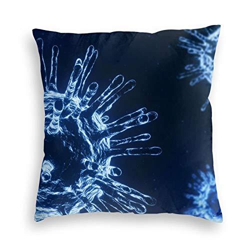 elasonn Luxury Soft Velvet Throw Pillow Covers,Microscope Coronavirus Covid Square Modern Pillowcases Cushion Covers Home Decor for Sofa Couch Bed Car Chair 22' x22