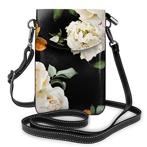 AOOEDM Handy Geldbörse Crossbody Creme Shabby Rose Flower Frauen Pu Leder Mode Handtasche mit verstellbarem Riemen