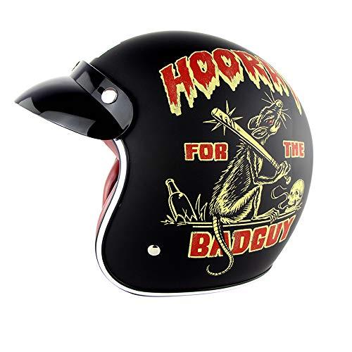 EDW 3/4 Open Face Motorradhelm Retro Helm Motorradhelm Pilot Fahrer Bobber Roller Cruiser Chopper Jet Helm Mofa DOT Zertifikat Visier (Tuchi),XXL(62~63cm)