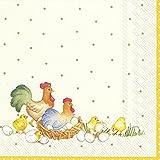 IHR New Easter Agricoltori (V & B) gallina e pulcini cocktail o tè tovaglioli di carta quadrata, 25cm, confezione da 20