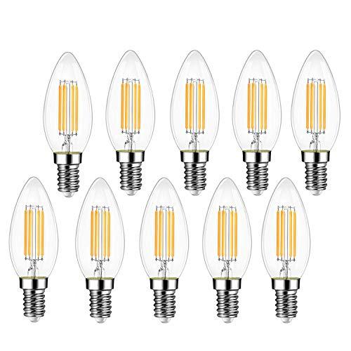 EXTRASTAR E14 LED Lampen, 400Lm, 4W ersetzt 40W Halogenlampen, 220-240V, 3000K Warmweiß, C35 Classic Glühfaden kerzenlampe, Nicht Dimmbar, 10 Stück [Energieklasse A++]