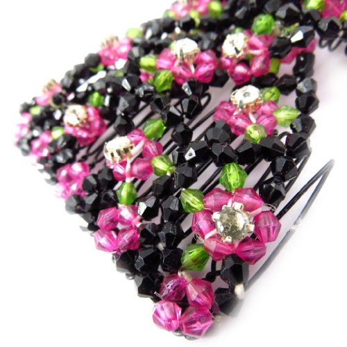Les Trésors De Lily [J5789] - Peigne Résille 'Chrysalide' noir rose