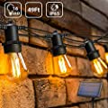 OxyLED LED Solar String Lights Outdoor with 15+1 S14 LED Bulbs, 49FT Hanging Bulb String Lights Solar Powered IP65 Waterproof for Home Garden Patio Backyard Party Wedding Christmas, Warm White