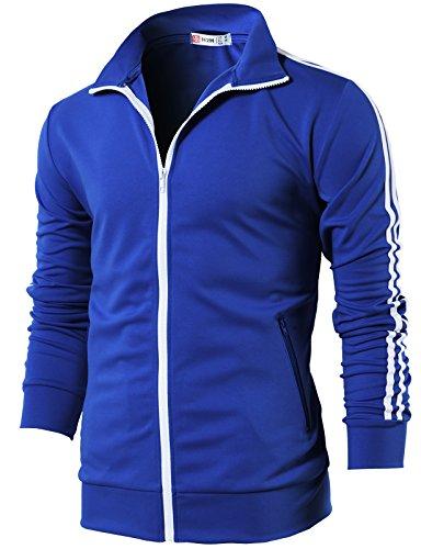 H2H Mens Slim Fit Zip-up Long Sleeves Elastic Training Jacket Blue US L/Asia XL (CMOJA0103)