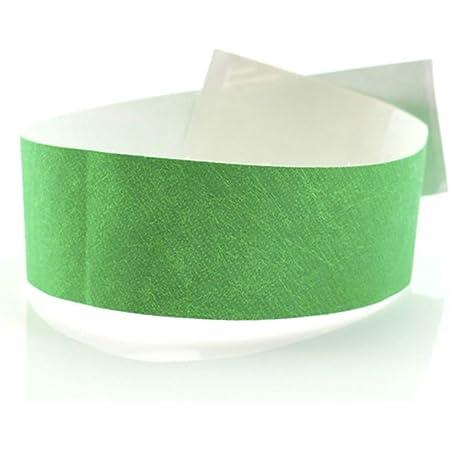 Fun Fan Line - 1.000 unités Bracelets d'identification 19 mm de large en papier tyvek. Bracelets de contrôle numérotés. Non transférable et résistant à l'eau. (Vert)