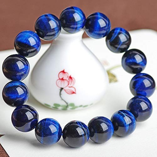Natural Handmade Blue Tiger Eye Bracelet - Semi Precious Round Beads Stretch Bracelet - Gemstone Beaded 8mm - Planet Jupiter Bracelets