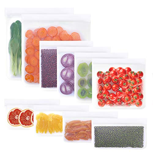 10 Pack Reusable Storage Bags 2 Reusable Gallon Bags4 Leakproof Reusable Sandwich Bags4 Thick Reusable Snack Bags Freezer Bags Leakproof Lunch Bags for Food Meat Fruit Cereal White