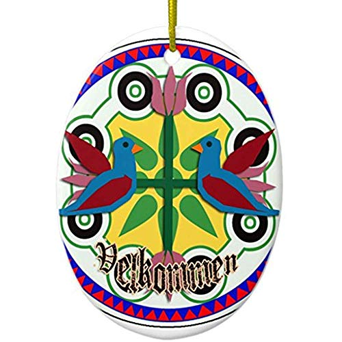 Nyngei Double Bird Hex Sign Ceramic Ornament Oval