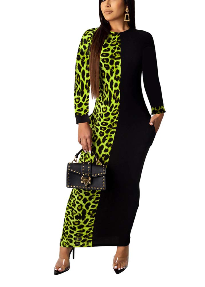 Available at Amazon: AKK Women's Sexy Leopard Printed Patchwork Long Sleeve Pocket Slim Bodycon Party Pencil Long Maxi Dress