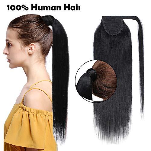 """Ponytail Extension Clip in Echthaar Pferdeschwanz Haarteil Haarverlängerung Zopf Hair Piece Schwarz#1 20\""""(50cm)-95g"""