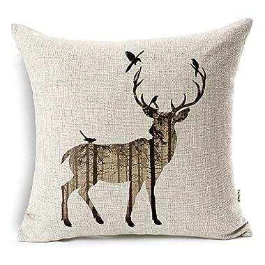 VOGOL Square Decorative Cotton Linen Throw Pillow Case Cushion Cover, Elk Pattern, Christmas,18x18