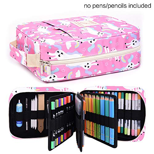 Pencil Case Holder Slot - Holds 202 Colored Pencils or 136 Gel Pens with Zipper Closure - Large Capacity Pen Organizer for Watercolor Pens or Markers -Perfect Gift for Artist Pinkhorse Photo #6