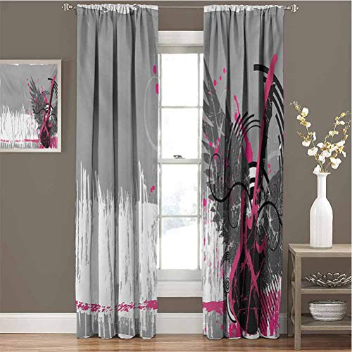 Toopeek Music Blackout Curtain Set Guitar and Wings in Sketchy Grunge Background Emo Rock Trippy Illustration Kindergarten Shading Insulation W72 x L108 Inch Dimgrey Hot Pink