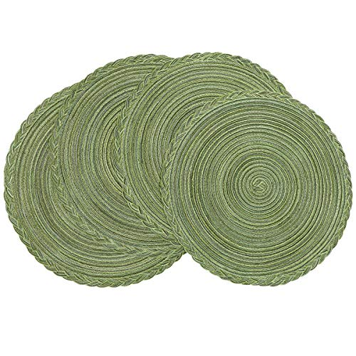 U'Artlines Indoor & Outdoor Round Cotton Placemat, Perfect for Fall, Dinner Parties, BBQs, Christmas Parties and Everyday Use (4pcs placemats, Green)