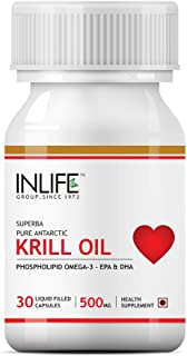 INLIFE Krill Oil (Superba) Phospholipid Omega 3 with Astaxanthin 500 mg - 30 Capsules