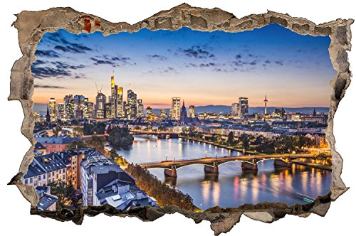 Frankfurt Abends Skyline Wandtattoo Wandsticker Wandaufkleber D1357 Größe 70 cm x 110 cm