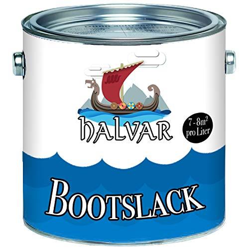Halvar Bootslack Weiß/Grau/Schwarz RAL 9001-9018 Yachtlack GLÄNZEND Bootsfarbe PU-verstärkt für Holz & Metall extrem belastbar hochelastisch Schiffslackierung (2,5 L, RAL 9010 Weiß)