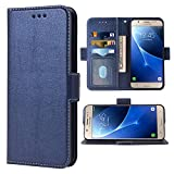 Compatible with Samsung Galaxy J7 2016 Folio Flip Wallet Case,PU Leather Credit Card Holder Slots Heavy Duty Full Body Protection Kickstand Protective Phone Cover for Glaxay GalaxyJ710 Cases Dark Blue