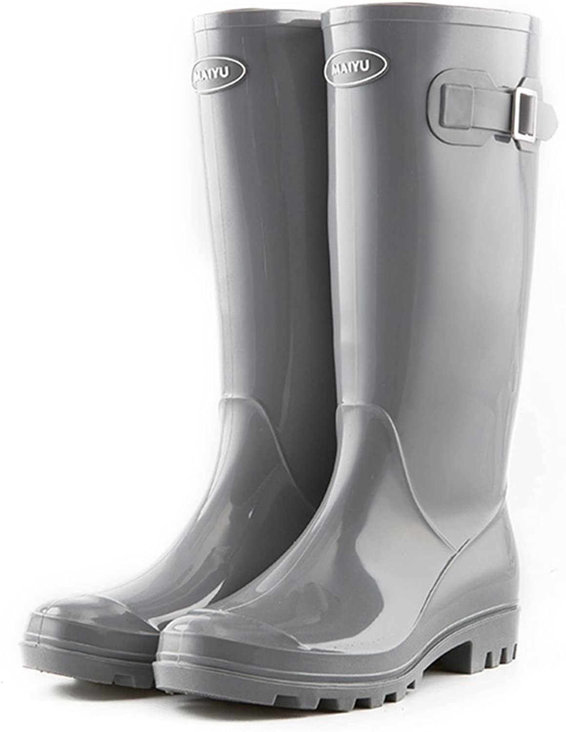 WENNEW PVC Anti-skidding Safety with Face Buckle Rain shoes for Womens Girls, Raincoat Rain Boots
