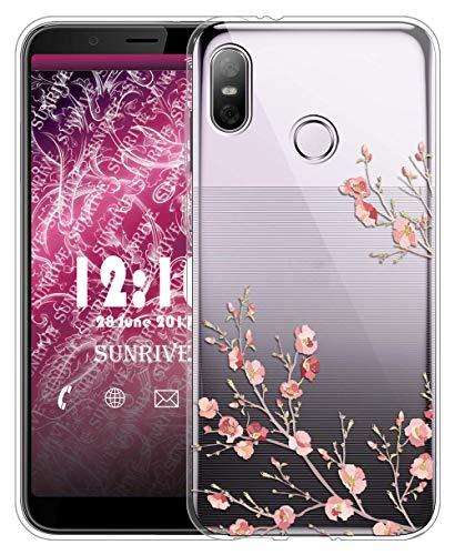 Sunrive Für HTC U12 Life Hülle Silikon, Transparent Handyhülle Schutzhülle Etui Case für HTC U12 Life(TPU Blume)+Gratis Universal Eingabestift MEHRWEG
