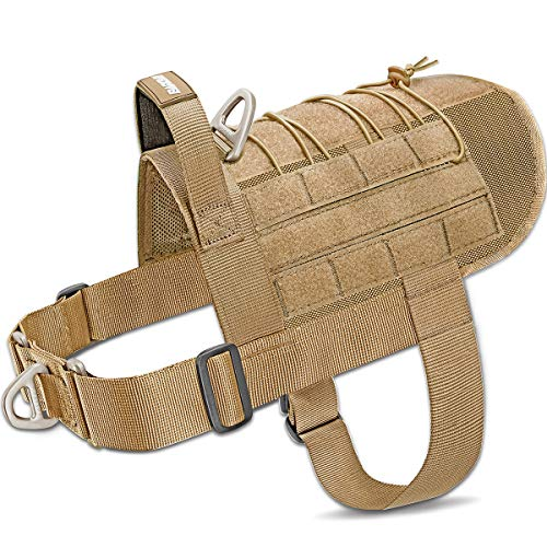 Tactical Dog Harness Vest Large with Handle,Military Service Dog Harness Working Dog MOLLE Vest with Loop Panels,No-Pull Training Harness with Leash Clips for Walking Hiking Hunting(Coyote Brown,M)