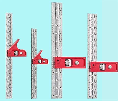 Combinación cuadrada, set ingenieros cuadrados regla cuadrada de acero inoxidable, grado cuadrado de carpintería ajustable con nivel de burbuja, herramienta de medición para...