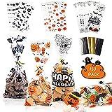 Halloween Goodie Bags 150 pezzi Dolcetto o scherzetto Biscotti Candy Snack Fillers Borse Portatili in plastica trasparente Regalo per feste Borse per bambini Adulti (Happy Halloween Pumpkins Bats)