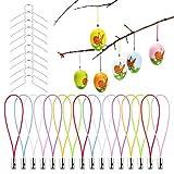 O-Kinee 150PCS Gancio per Uova di Pasqua Sfera Decorativa Gancio per Uova di Pasqua Uova con 150 Pezzi Filo colorato, Gancio in Metallo per Uova di plastica, Uova di plastica per Decorazione Pasqua