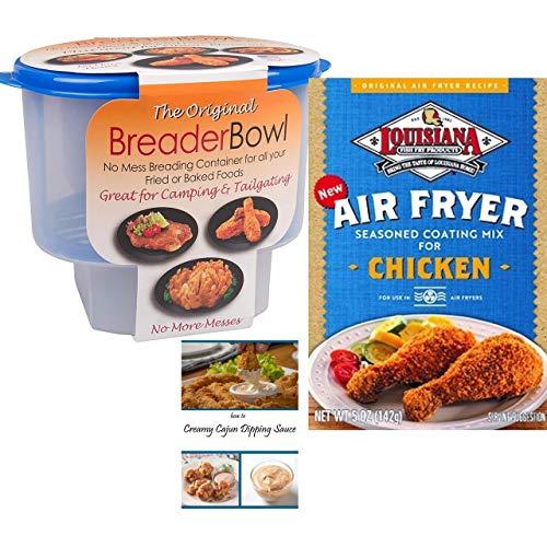 Cajun Chicken Seasoning Mix | Breader Shaker Bowl | Cajun Dipping Sauce Recipe | Louisiana Air Fryer Seasoning Coating Mix and The Original Breader Bowl Bundle