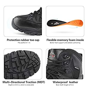 NORTIV 8 Men's Waterproof Winter Snow Hiking Boots Outdoor Mountaineering Trekking Mid Backpacking Shoes Black Size 9.5 M US JS19002M