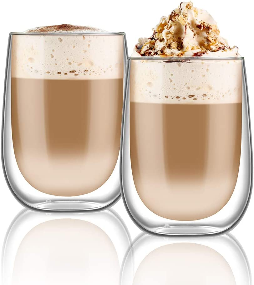 400 ML hirmit Tasse a Cafe Tasse Double paroi Verre Mug Verre Caf/é Borosilicate avec Poign/ée pour th/é Cappuccino Lait Jus
