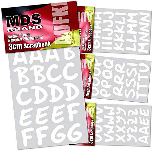 MDS Brand 3cm Schreibschrift Klebebuchstaben 5X weitere Farben (Weiss)