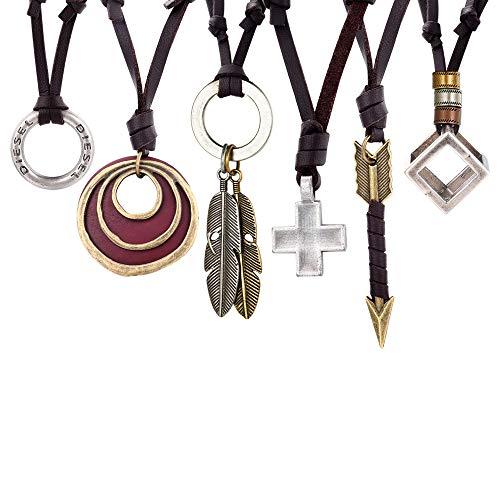 FIBO STEEL 6 pcs Vintage Pendant Leather Necklace for Men Women Arrow Feather Cross Pendant Leather Necklace Set Adjustable